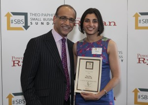 Priya from Dietitian UK collects her #SBS award from Theo Paphitis