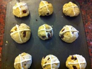 Hot Cross Buns ready to bake