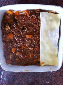 Dietitian UK: Lasagne layering in progress