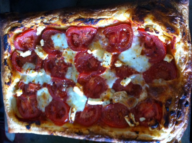 Tomato, Mozzerella and Pesto Puffed Tart