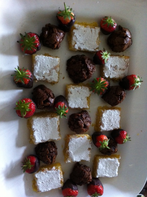 Afternoon Tea with gluten free brownies, lemon cakes and chocolate dipped strawberries.