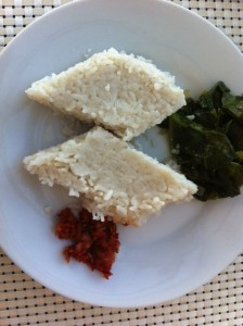 Dietitian UK: Sri-Lankan Kiri-bath, Spinach and Sambal (coconut rice)