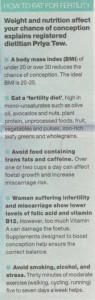 Fertility and Diet: The Guardian 26.07.12