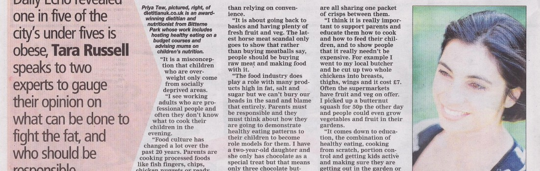 Obesity Epidemic, Priya in the local paper.