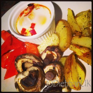 Dietitian UK: Baked Egs, potato wedges, mushrooms and peppers