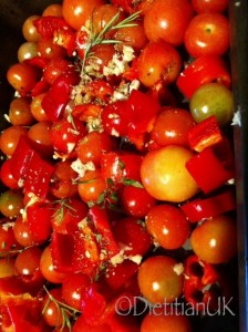 Dietitian UK. Cherry tomatoes ready to roast