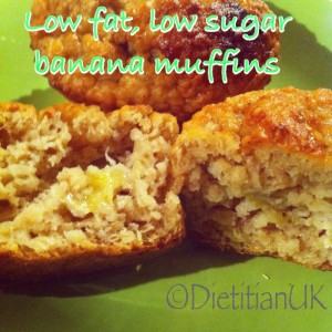 Dietitian UK: Healthy low fat, low sugar banana muffins