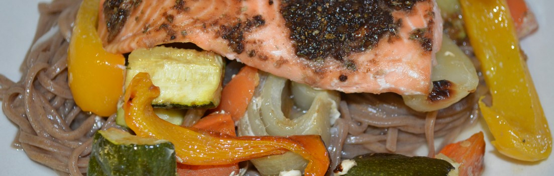 Spicy Salmon with Roasted Veg