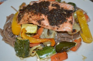 Dietitian UK: Spicy Salmon and Roasted Vegetables on a bed of Noodles.