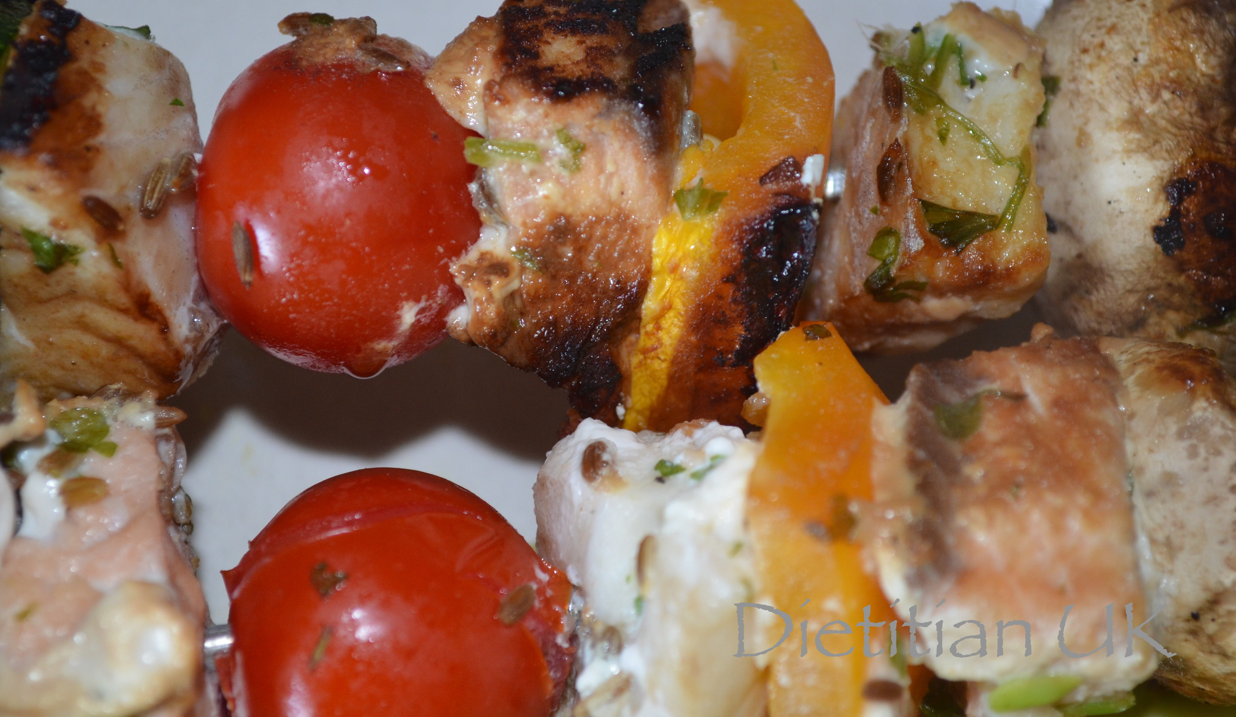 Fish Kebabs with cumin scented rice and avocado salsa.   Dietitian UK