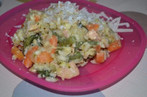 Dietitian UK: Salmon and Spring Vegetable Risotto: toddler portion.