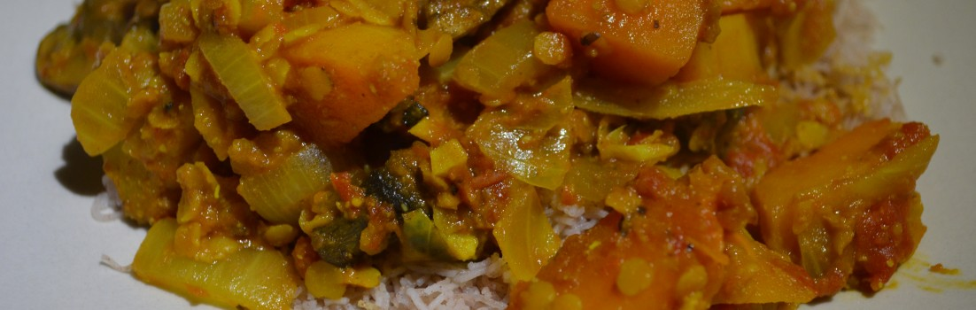 Butternut and lentil curry.