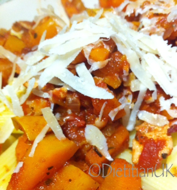Butternut, Bacon and Carrot Pasta.