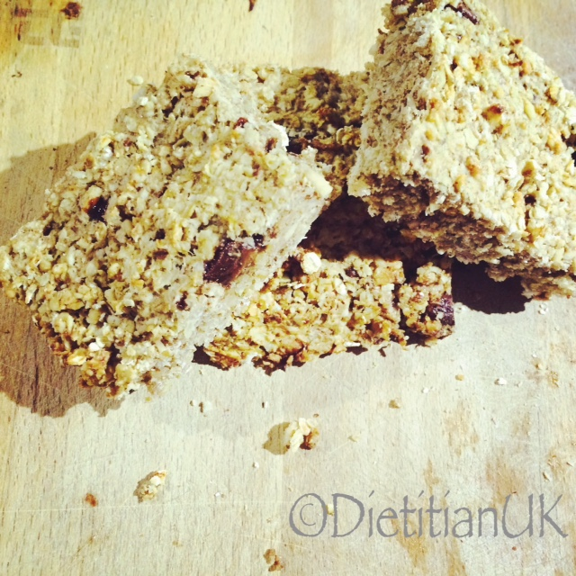 Banana, Peanut Butter and Chocolate Chip Flapjack (WF, GF, DF).