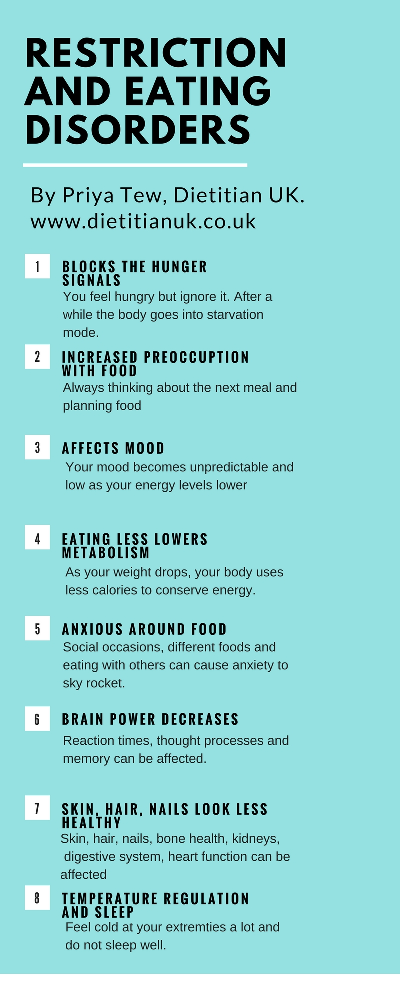 Dietitian UK: Restriction and eating disorders infographic