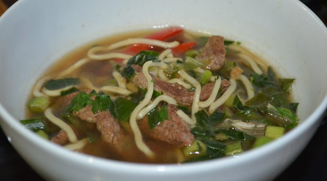 Beef and Red Pepper Noodle Soup.