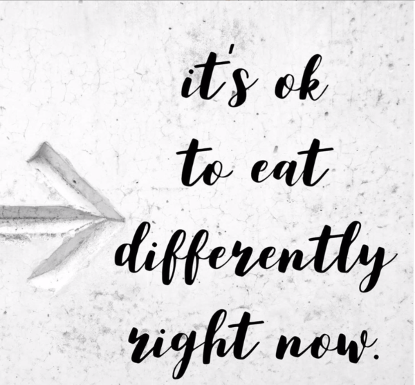 It's ok to eat differently right now. A Covid-19 post.