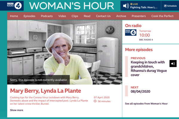 Woman's Hour and Lockdown Cooking