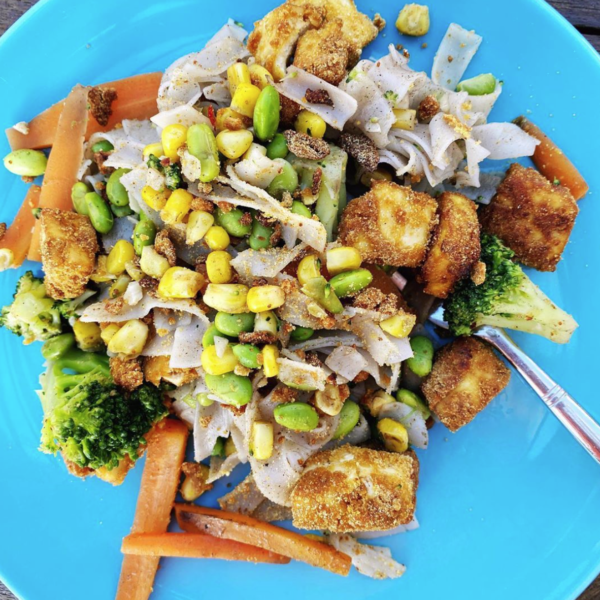 Crispy Tofu Satay Stir Fry